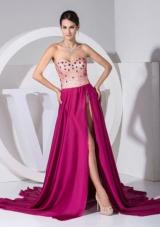 Beading Sweetheart Neckline High Slit Brush Prom Dress