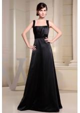 Straps Black Prom Dress Belt A-line Floor-length