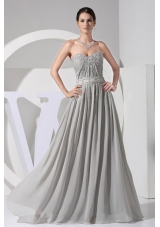 Appliques Beading Grey Floor-length Prom Dress