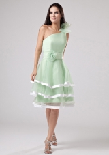 Apple Green Layeres Prom Dress One Shoulder Flowers
