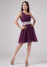 White Appliques Sash Dark Purple Single Strap Prom Dress