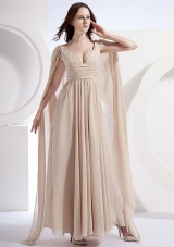Watteau Empire V-neck Chiffon Prom Dress Pleating