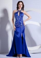 Mermaid Halter Embroidery Royal Sweep Prom Dress