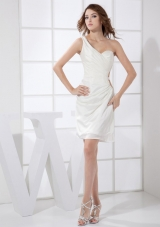 One Shoulder White Mini-length Prom / Cocktail Dress