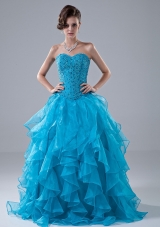 Beading Ruffles Beading Floor-length Prom Dress