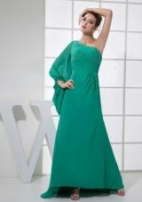Long Sleeve One Shoulder Prom Dress Brush Beading