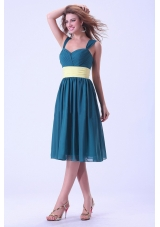 Straps Bridesmaid Dresses Knee-length Yellow Waistband