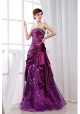 Applique A-Line Fuchsia Floor-length Embroidery Prom Pageant Dress
