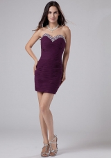Beading Mini Column Ruched Prom Dress Purple