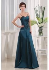 Teal Straps A-Line Long Appliques Mother Bride Dress