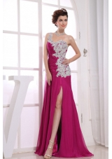 One Shoulder Appliques Watteau Column Prom Dress