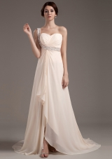Beading One Shoulder Champagne Brush Prom Dress