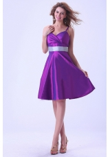 Spaghetti Straps Bridesmaid Dresses Purple A-line
