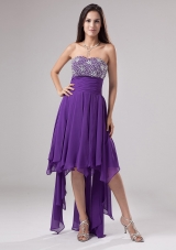 Purple Asymmetrical Ruch Graduation Dress Empire Beaded