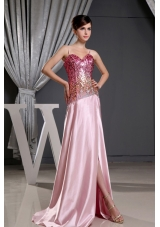 Spaghetti Straps High Slit Prom Dress Sequin Bodice