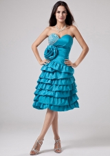 Hand Flower Ruffled Layeres Prom Dress Teal