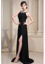 Betaau High Slit Prom Dress A-line Brush Beading