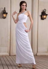 One Shoulder White Prom Dress Beaded Side Zipper