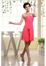 Coral Red Column Bridesmaid Dress With Straps