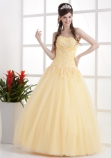 Appliques and Ruch Gold A-line Prom Dress Strapless