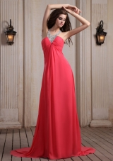 V-neck Halter Court Train Empire Coral Prom Dress