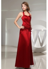 Halter Wine Red Column Bridesmaid Dresses Ankle-length