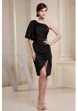 Short Sleeves Side Zipper Prom Dress One Shoulder