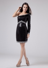 Sequins One Shoulder Prom Dress Black Beading