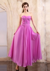 Empire Ruch Lavender Prom Pageant Dress Sweetheart