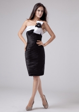 One Shoulder Hand Flower Prom Dress Ruched Black