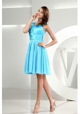Straps A-Line Knee-length Baby Blue Bridesmaid Dresses