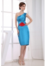 Knee-length One Shoulder Sheath Bridesmaid Dress Teal