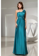 Hand Flowers One Shoulder Prom Dress Empire