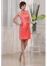 Halter Prom Nightclub Dress Coral Column Mini-length