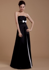 Bowknot A-Line Strapless Floor-length Prom Dress