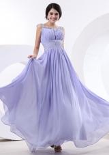 Bateau Beading Lilac Prom Dress Ruch Floor-length