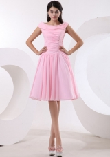 Bateau Ruch Baby Pink Prom Dress A-line