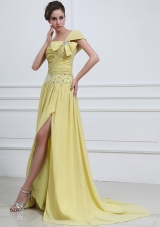 One Shoulder Beaded High Slit Yellow Prom Dress