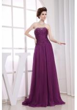 Fuchsia Bead Prom Dress Empire Strapless Brush