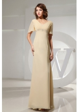 Champagne Mother Bride Dress Short Sleeves Beading