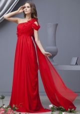 Empire Red Prom Dress One Shoulder Watteau