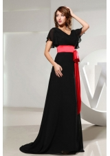 Black Prom Dress Black Sash Short Sleeves and Brush