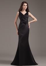 Mermaid V-neck Bowknot Prom Dress Ruch