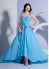 Beading Prom Dress Straps Light Blue Empire Brush