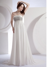 Strapless Empire White Prom Dress Brush Appliques