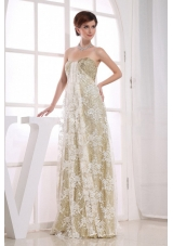 Sequins Champagne Empire Sweetheart Prom Dress