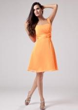 Sash Orange Red One Shoulder Bridesmaid Dress