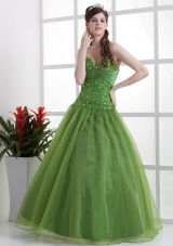 Sweetheart Olive Green Prom Dress Beaded
