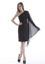 Knee-length Black Column One Shoulder Prom Dress