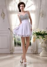 Spaghetti Straps Beaded Prom Dress Mini-length